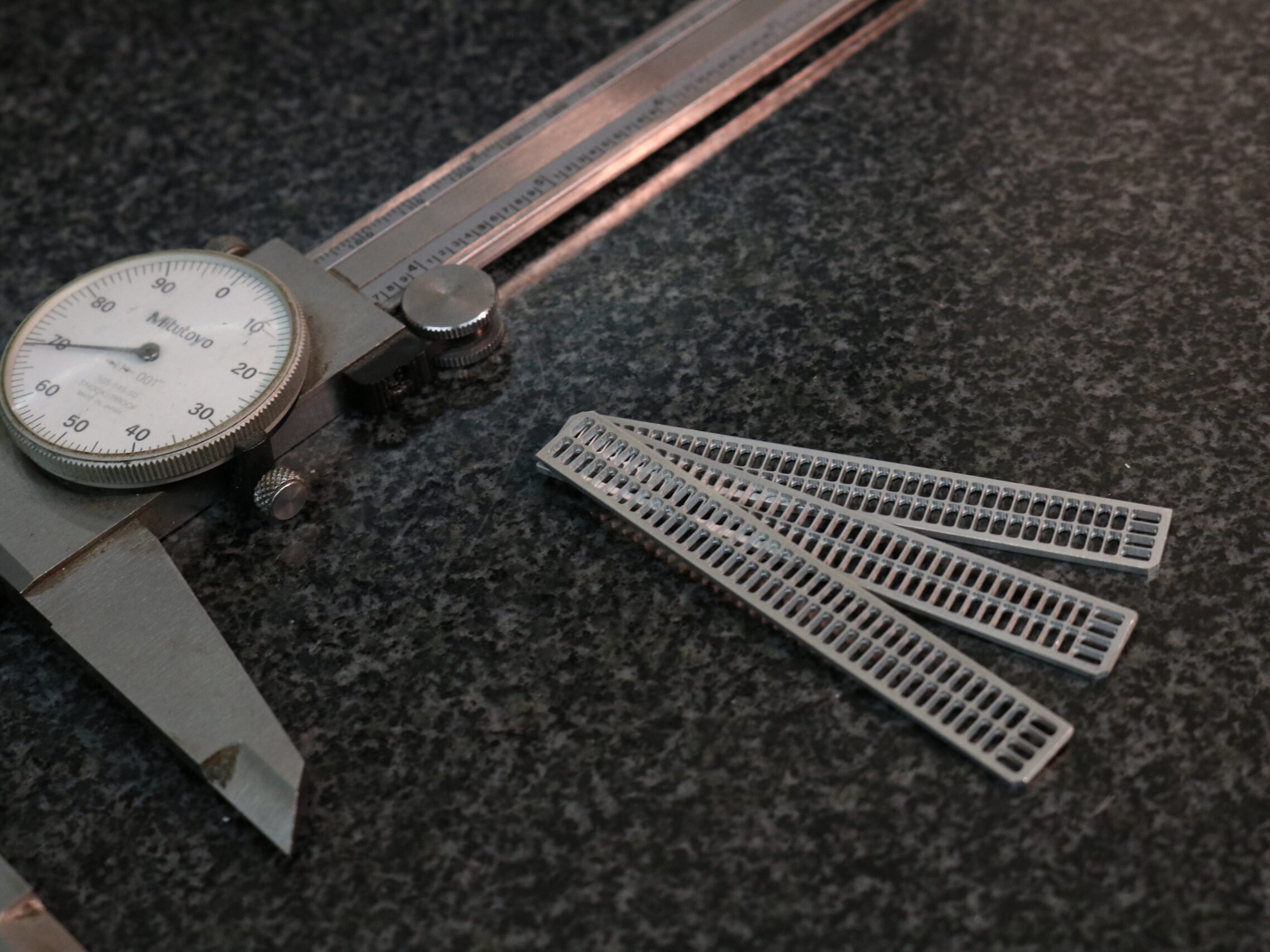 Calipers and inspection devices at Kelley-Tron Machine Co. used to maintain ISO compliance