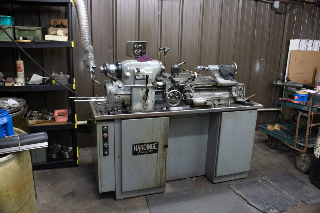 Metal lathe at Kelley-Tron Machine Co. in Harrisburg, PA
